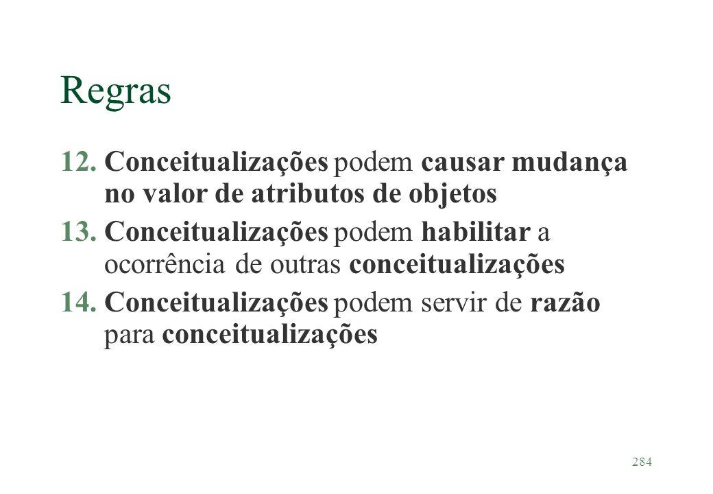 284 Regras 12.Conceitualizações podem causar mudança no valor de atributos de objetos 13.Conceitualizações podem habilitar a ocorrência de outras conc