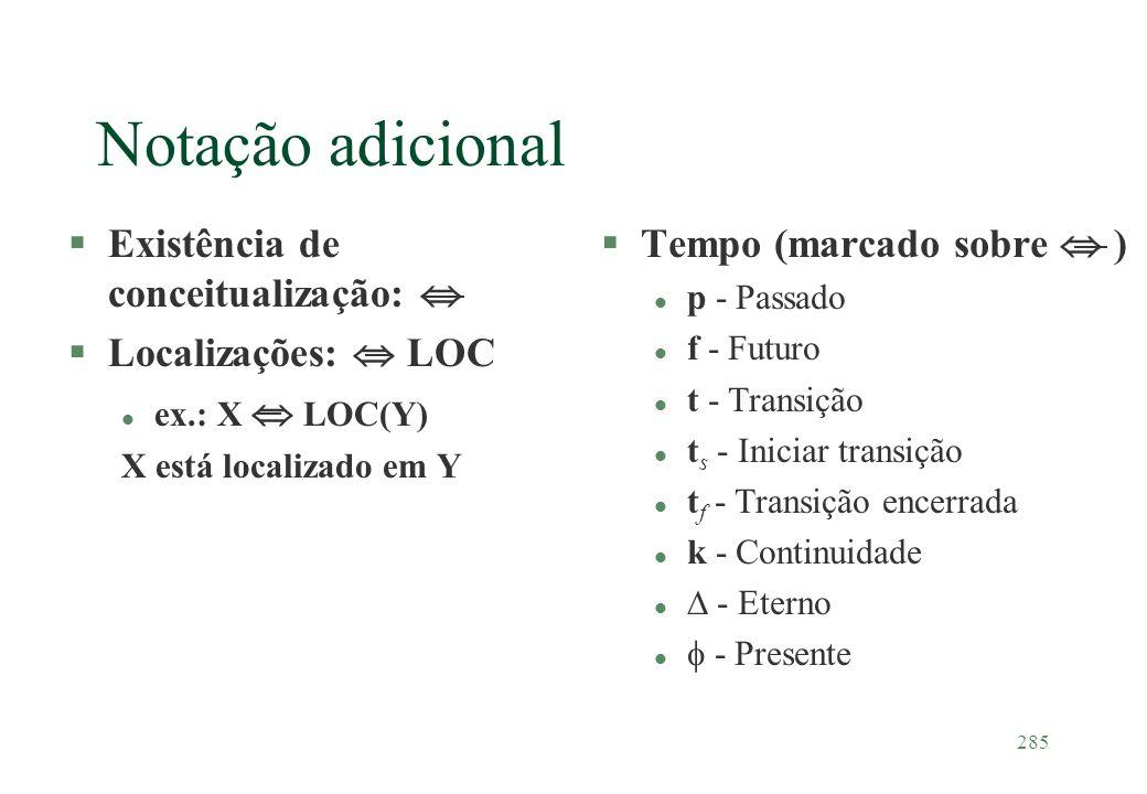 285 Notação adicional §Existência de conceitualização: §Localizações: LOC l ex.: X LOC(Y) X está localizado em Y §Tempo (marcado sobre ) l p - Passado