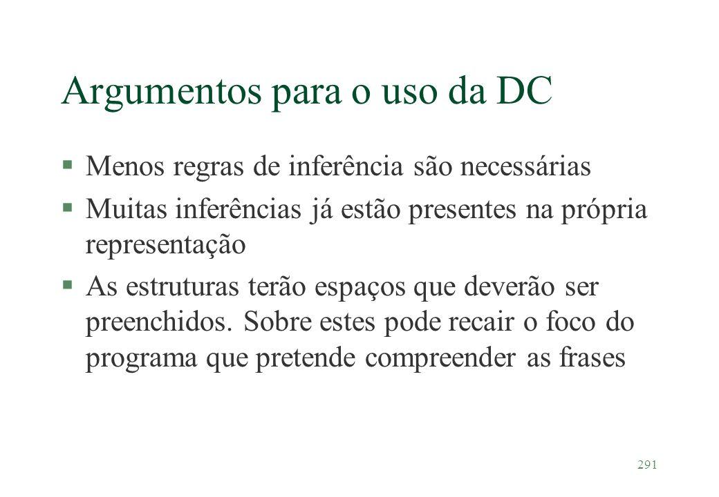291 Argumentos para o uso da DC §Menos regras de inferência são necessárias §Muitas inferências já estão presentes na própria representação §As estrut