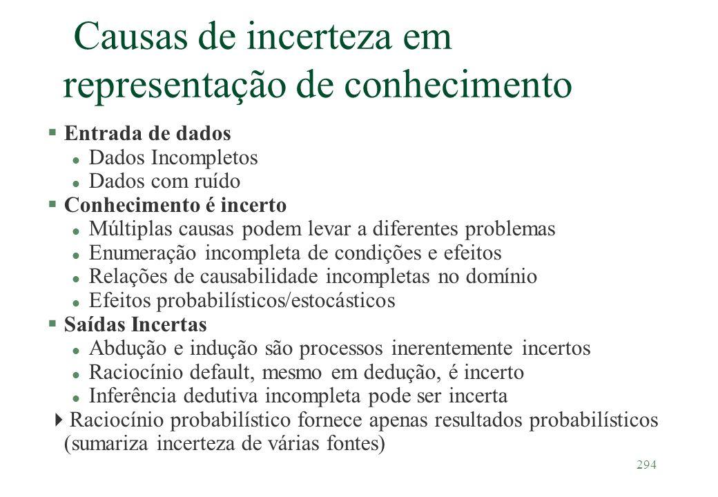 294 Causas de incerteza em representação de conhecimento §Entrada de dados l Dados Incompletos l Dados com ruído §Conhecimento é incerto l Múltiplas c