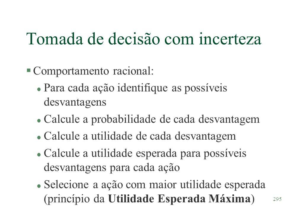 295 Tomada de decisão com incerteza §Comportamento racional: l Para cada ação identifique as possíveis desvantagens l Calcule a probabilidade de cada
