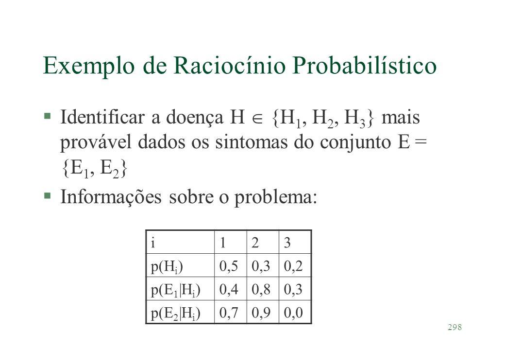 298 Exemplo de Raciocínio Probabilístico §Identificar a doença H {H 1, H 2, H 3 } mais provável dados os sintomas do conjunto E = {E 1, E 2 } §Informa