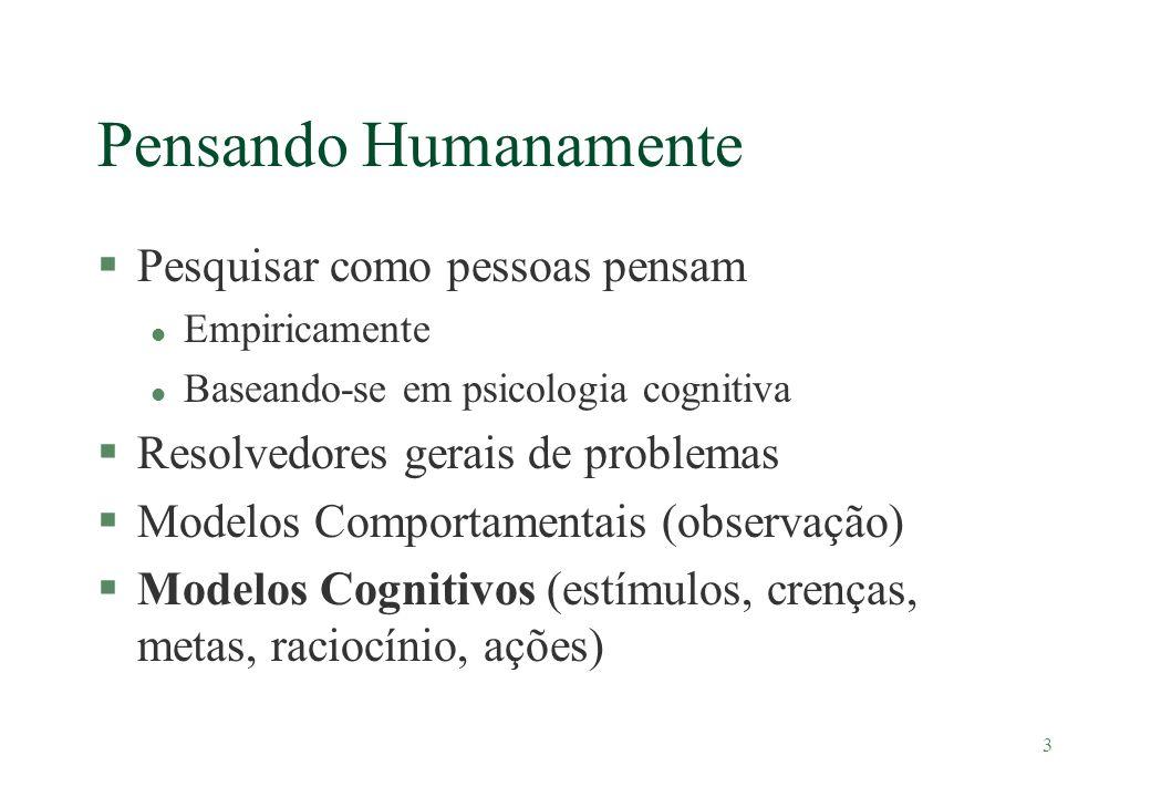 3 Pensando Humanamente §Pesquisar como pessoas pensam l Empiricamente l Baseando-se em psicologia cognitiva §Resolvedores gerais de problemas §Modelos