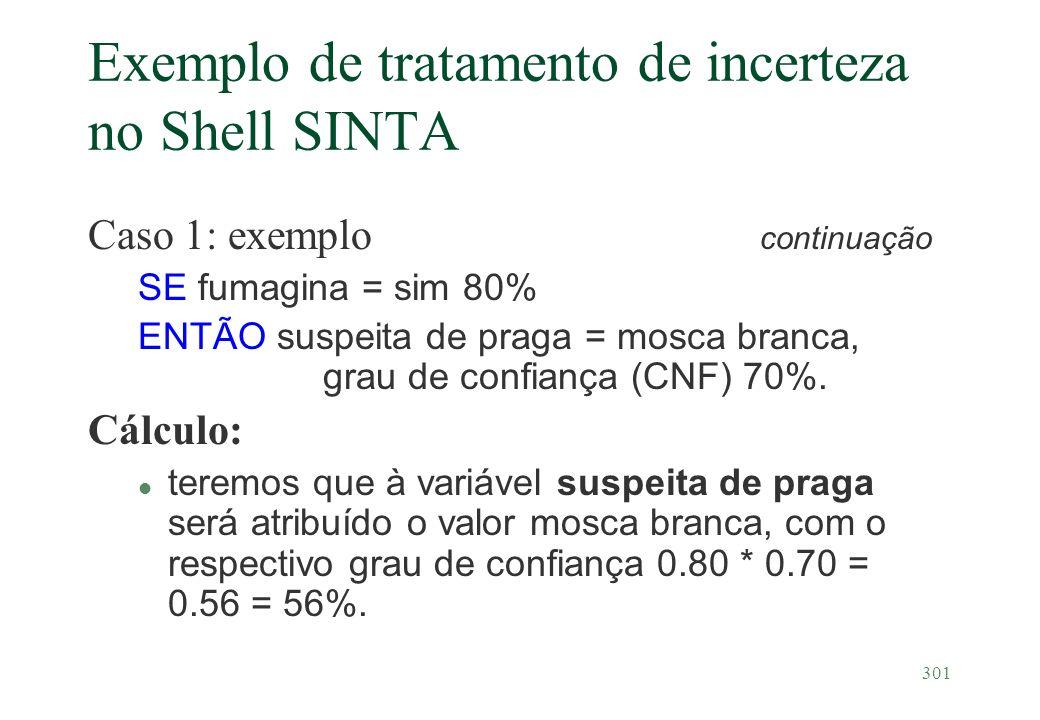 301 Exemplo de tratamento de incerteza no Shell SINTA Caso 1: exemplo continuação SE fumagina = sim 80% ENTÃO suspeita de praga = mosca branca, grau d