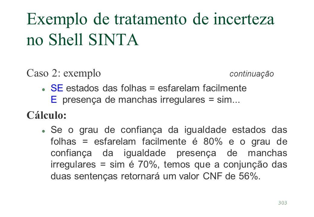 303 Exemplo de tratamento de incerteza no Shell SINTA Caso 2: exemplo continuação l SE estados das folhas = esfarelam facilmente E presença de manchas