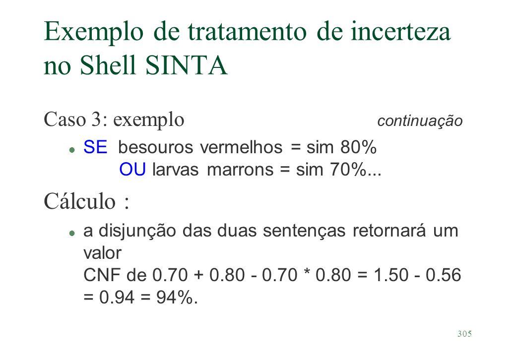 305 Exemplo de tratamento de incerteza no Shell SINTA Caso 3: exemplo continuação l SE besouros vermelhos = sim 80% OU larvas marrons = sim 70%... Cál