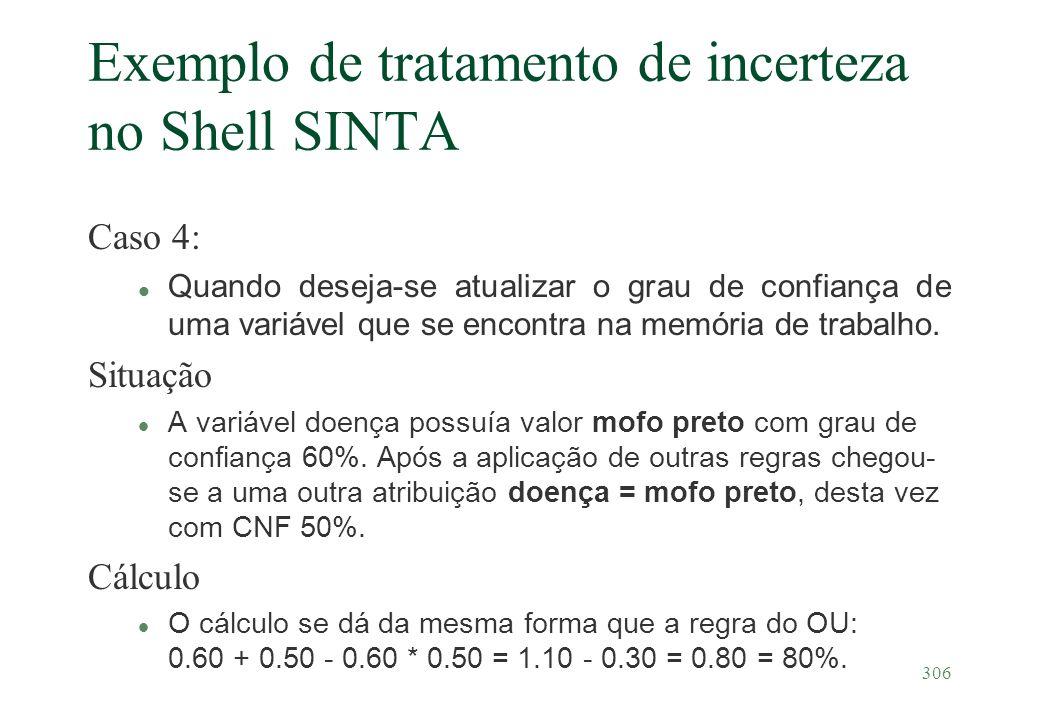 306 Exemplo de tratamento de incerteza no Shell SINTA Caso 4: l Quando deseja-se atualizar o grau de confiança de uma variável que se encontra na memó