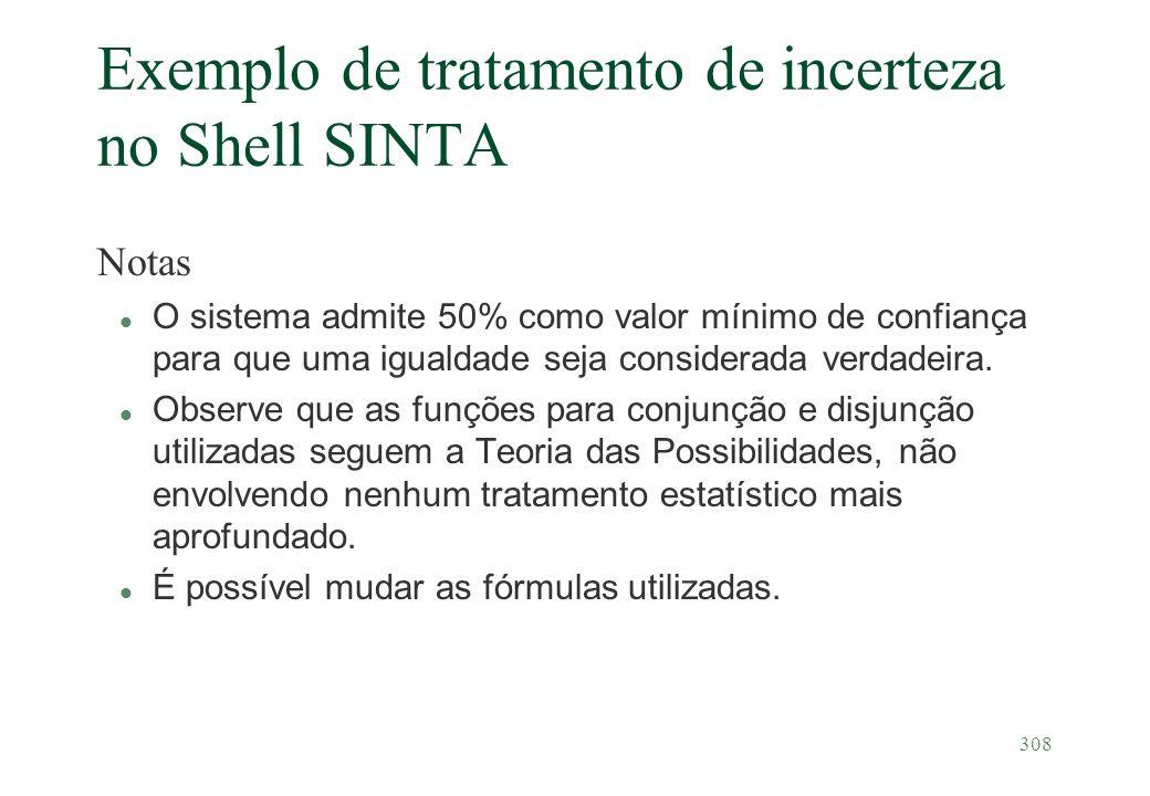 308 Exemplo de tratamento de incerteza no Shell SINTA Notas l O sistema admite 50% como valor mínimo de confiança para que uma igualdade seja consider