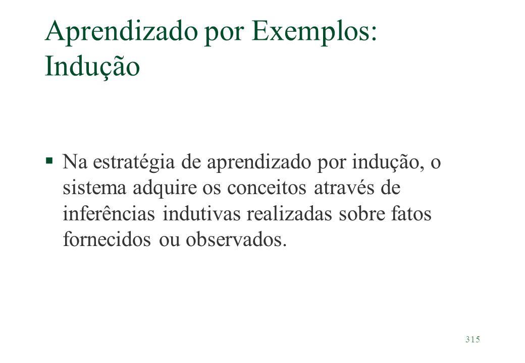 315 Aprendizado por Exemplos: Indução §Na estratégia de aprendizado por indução, o sistema adquire os conceitos através de inferências indutivas reali