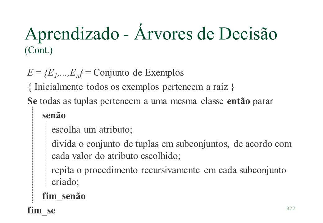 322 Aprendizado - Árvores de Decisão (Cont.) E = {E 1,...,E n } = Conjunto de Exemplos { Inicialmente todos os exemplos pertencem a raiz } Se todas as