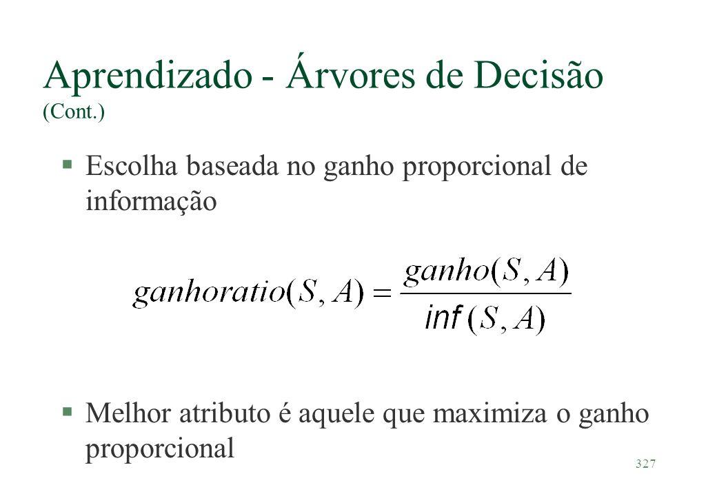 327 Aprendizado - Árvores de Decisão (Cont.) §Escolha baseada no ganho proporcional de informação §Melhor atributo é aquele que maximiza o ganho propo