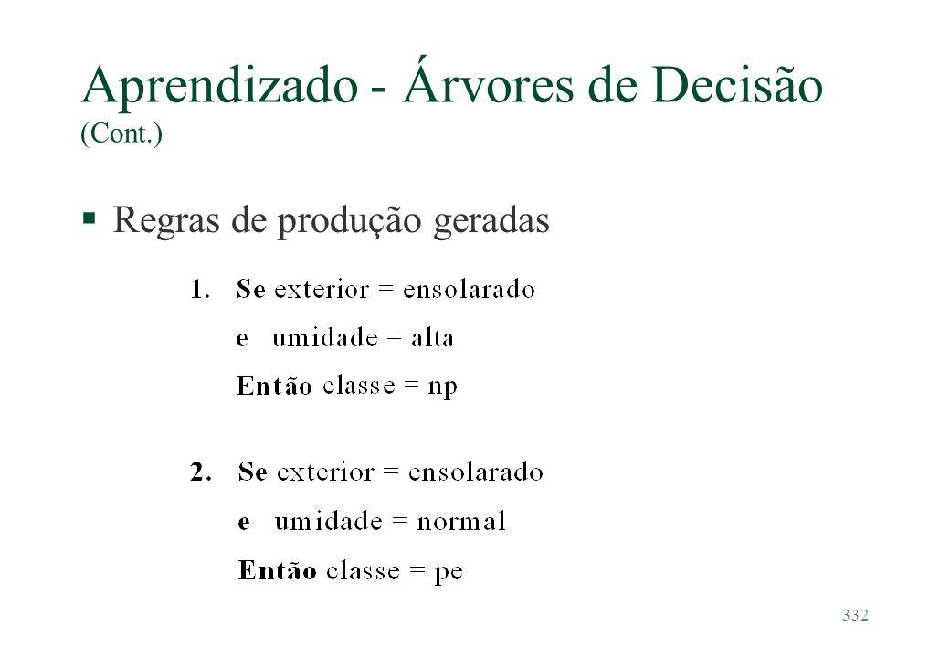 332 Aprendizado - Árvores de Decisão (Cont.) §Regras de produção geradas