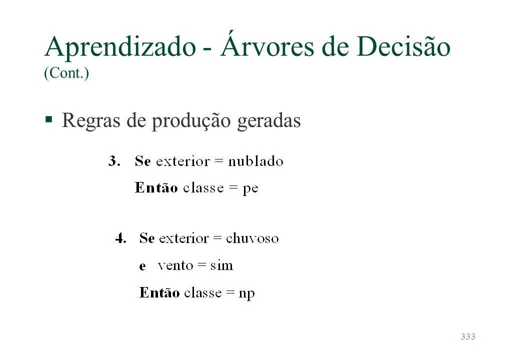 333 Aprendizado - Árvores de Decisão (Cont.) §Regras de produção geradas