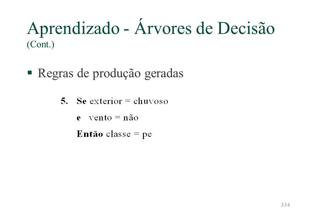334 Aprendizado - Árvores de Decisão (Cont.) §Regras de produção geradas