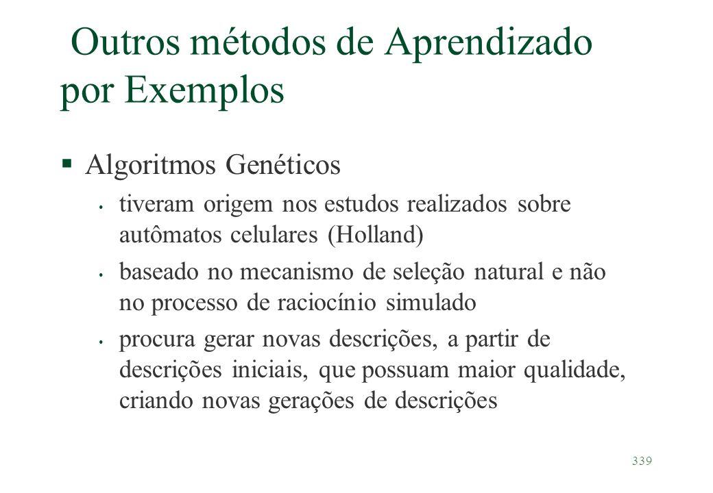 339 Outros métodos de Aprendizado por Exemplos §Algoritmos Genéticos tiveram origem nos estudos realizados sobre autômatos celulares (Holland) baseado