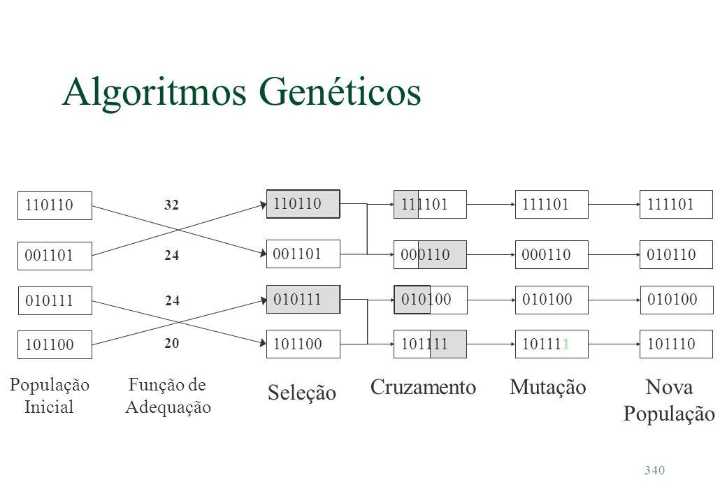 340 Algoritmos Genéticos População Inicial 110110 001101 010111 110110 001101 010111 111101 000110 010100 101100 101111 32 24 20 Função de Adequação S