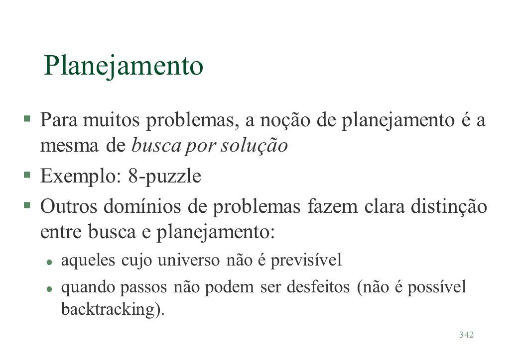 342 Planejamento §Para muitos problemas, a noção de planejamento é a mesma de busca por solução §Exemplo: 8-puzzle §Outros domínios de problemas fazem