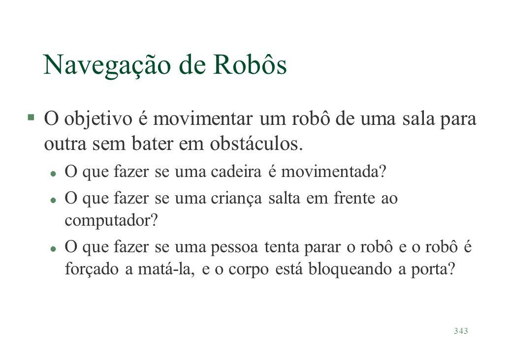 343 Navegação de Robôs §O objetivo é movimentar um robô de uma sala para outra sem bater em obstáculos. l O que fazer se uma cadeira é movimentada? l