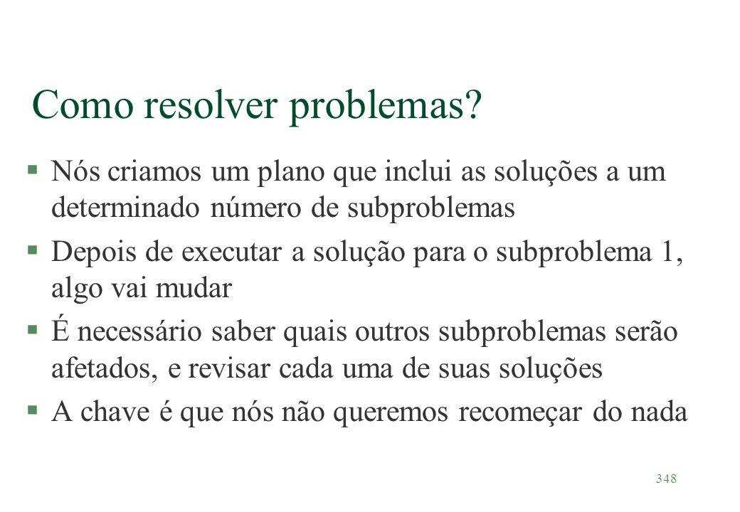 348 Como resolver problemas? §Nós criamos um plano que inclui as soluções a um determinado número de subproblemas §Depois de executar a solução para o