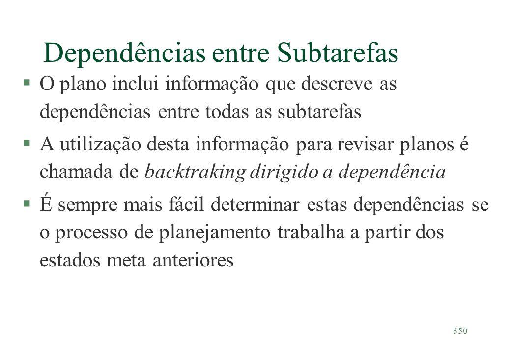 350 Dependências entre Subtarefas §O plano inclui informação que descreve as dependências entre todas as subtarefas §A utilização desta informação par