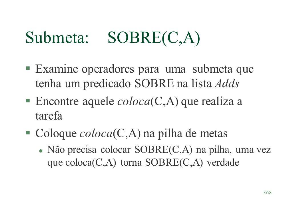 368 Submeta: SOBRE(C,A) §Examine operadores para uma submeta que tenha um predicado SOBRE na lista Adds §Encontre aquele coloca(C,A) que realiza a tar