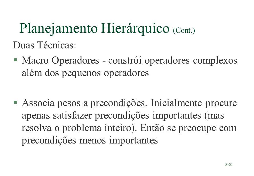 380 Planejamento Hierárquico (Cont.) Duas Técnicas: §Macro Operadores - constrói operadores complexos além dos pequenos operadores §Associa pesos a pr