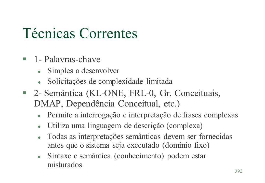 392 Técnicas Correntes §1- Palavras-chave l Simples a desenvolver l Solicitações de complexidade limitada §2- Semântica (KL-ONE, FRL-0, Gr. Conceituai
