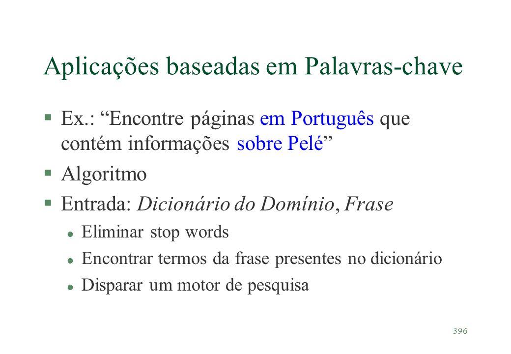 396 Aplicações baseadas em Palavras-chave §Ex.: Encontre páginas em Português que contém informações sobre Pelé §Algoritmo §Entrada: Dicionário do Dom