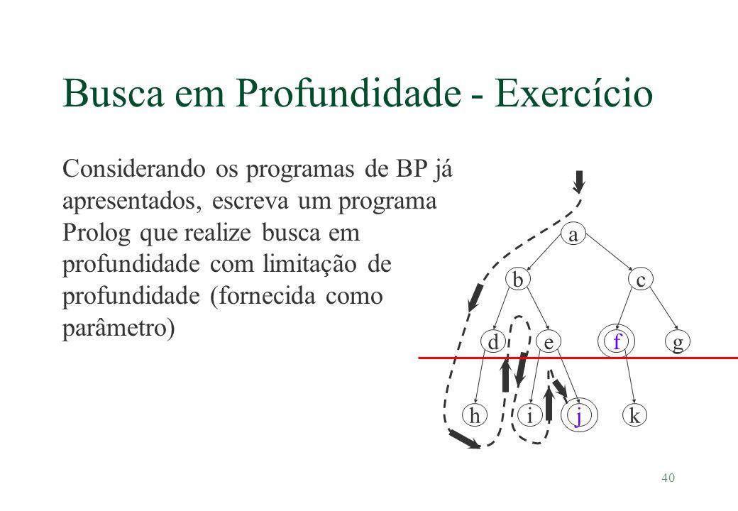 40 Busca em Profundidade - Exercício Considerando os programas de BP já apresentados, escreva um programa Prolog que realize busca em profundidade com