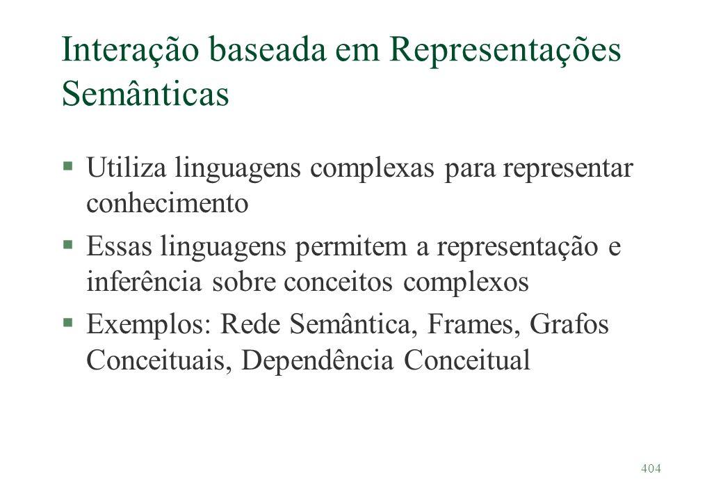 404 Interação baseada em Representações Semânticas §Utiliza linguagens complexas para representar conhecimento §Essas linguagens permitem a representa