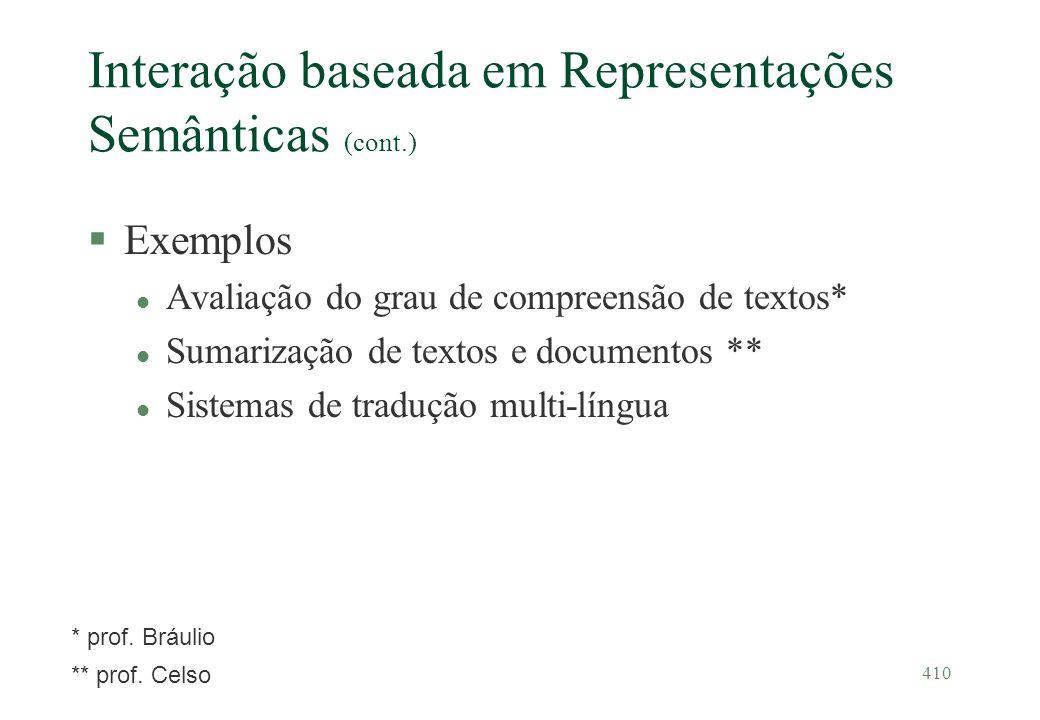 410 Interação baseada em Representações Semânticas (cont.) §Exemplos l Avaliação do grau de compreensão de textos* l Sumarização de textos e documento