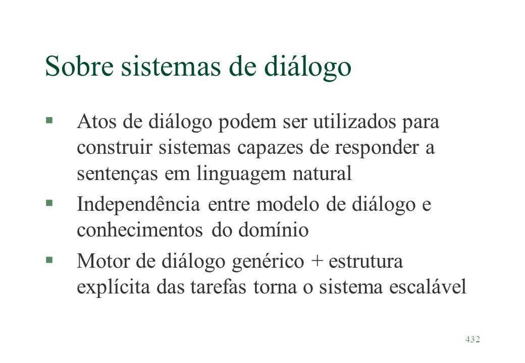 432 Sobre sistemas de diálogo §Atos de diálogo podem ser utilizados para construir sistemas capazes de responder a sentenças em linguagem natural §Ind