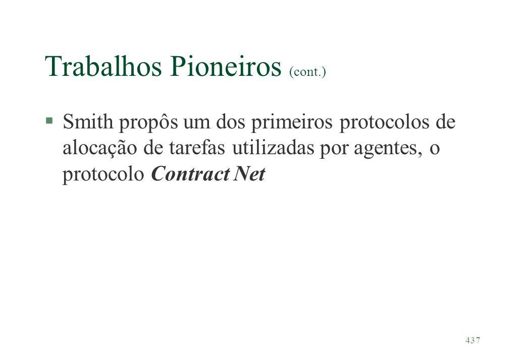 437 Trabalhos Pioneiros (cont.) §Smith propôs um dos primeiros protocolos de alocação de tarefas utilizadas por agentes, o protocolo Contract Net