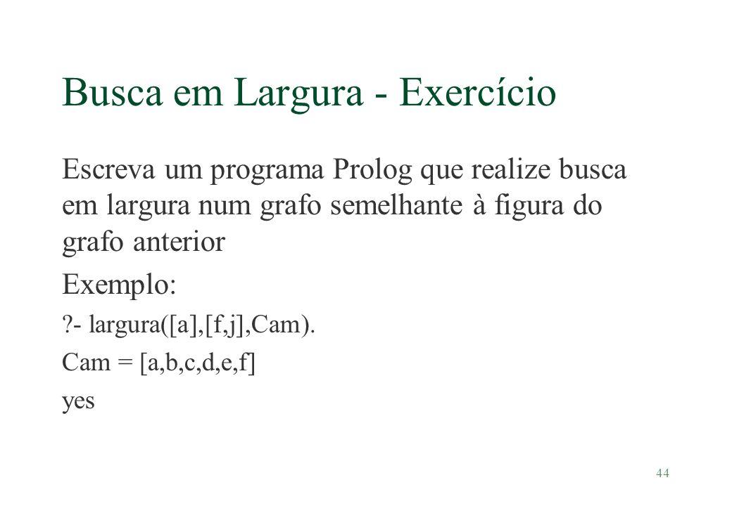 44 Busca em Largura - Exercício Escreva um programa Prolog que realize busca em largura num grafo semelhante à figura do grafo anterior Exemplo: ?- la