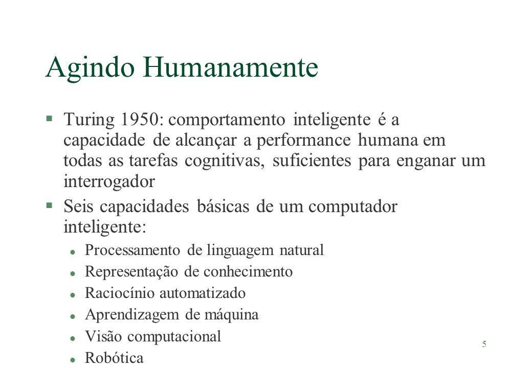 5 Agindo Humanamente §Turing 1950: comportamento inteligente é a capacidade de alcançar a performance humana em todas as tarefas cognitivas, suficient