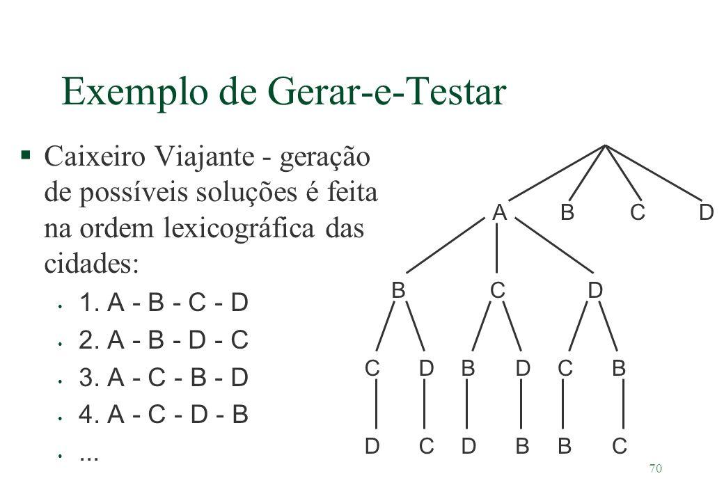 70 §Caixeiro Viajante - geração de possíveis soluções é feita na ordem lexicográfica das cidades: 1. A - B - C - D 2. A - B - D - C 3. A - C - B - D 4