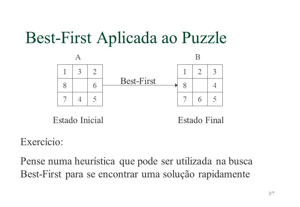 97 Best-First Aplicada ao Puzzle 8 32 6 547 1 8 23 4 567 1 Best-First Estado InicialEstado Final Exercício: Pense numa heurística que pode ser utiliza