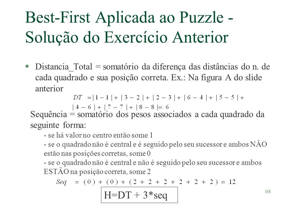98 Best-First Aplicada ao Puzzle - Solução do Exercício Anterior §Distancia_Total = somatório da diferença das distâncias do n. de cada quadrado e sua