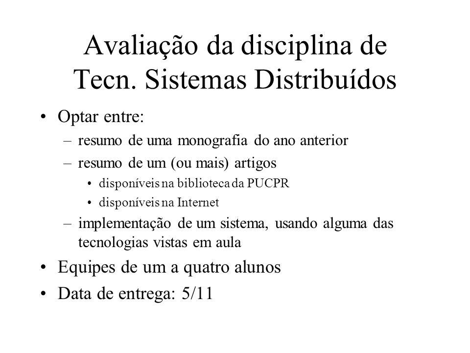 Avaliação da disciplina de Tecn. Sistemas Distribuídos Optar entre: –resumo de uma monografia do ano anterior –resumo de um (ou mais) artigos disponív