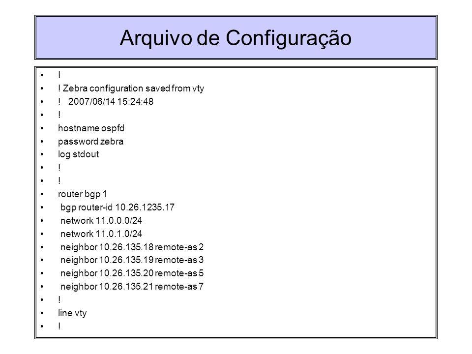 Arquivo de Configuração ! ! Zebra configuration saved from vty ! 2007/06/14 15:24:48 ! hostname ospfd password zebra log stdout ! router bgp 1 bgp rou
