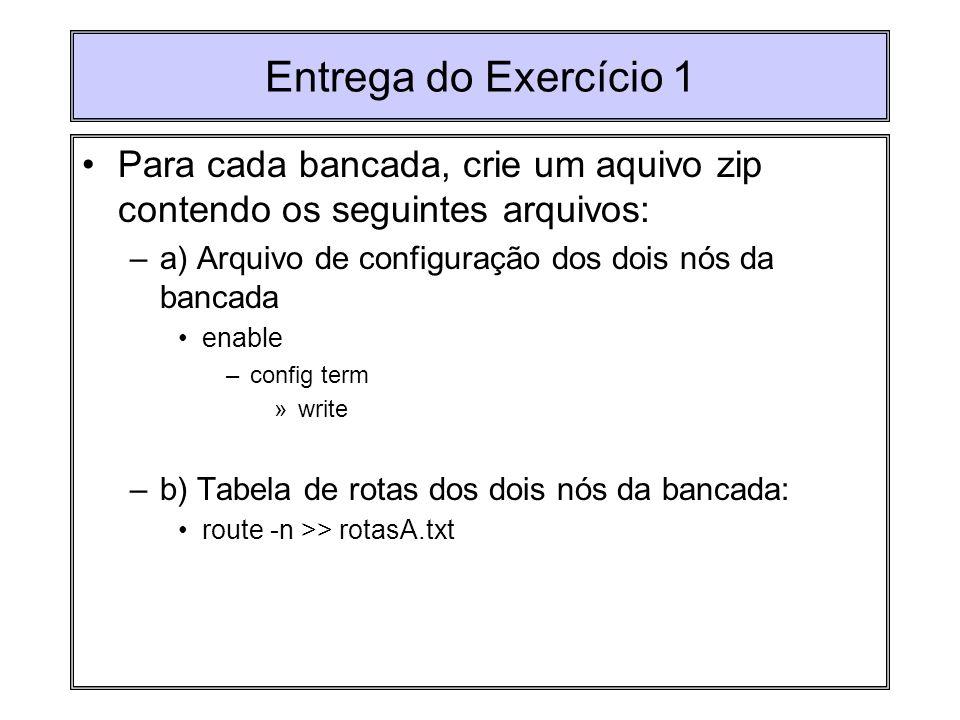 Entrega do Exercício 1 Para cada bancada, crie um aquivo zip contendo os seguintes arquivos: –a) Arquivo de configuração dos dois nós da bancada enabl