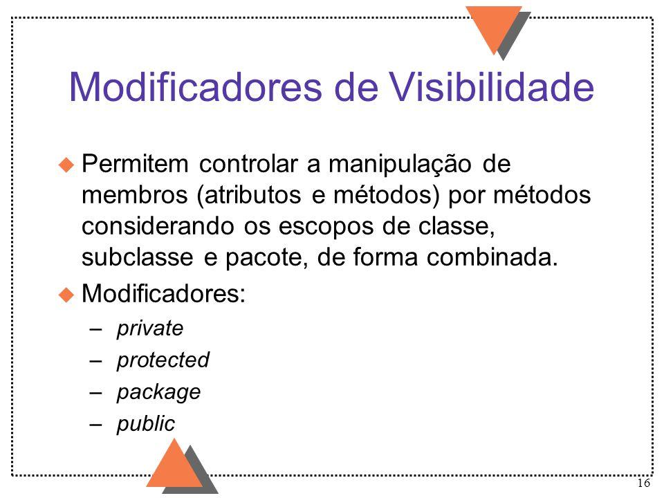 16 Modificadores de Visibilidade u Permitem controlar a manipulação de membros (atributos e métodos) por métodos considerando os escopos de classe, su