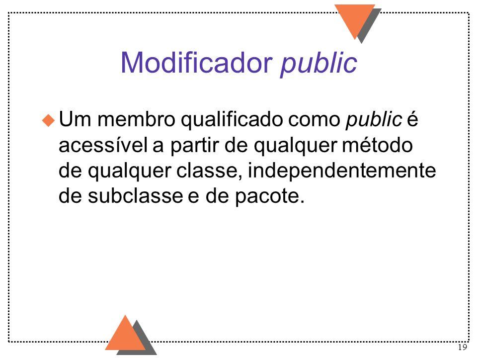 19 Modificador public u Um membro qualificado como public é acessível a partir de qualquer método de qualquer classe, independentemente de subclasse e