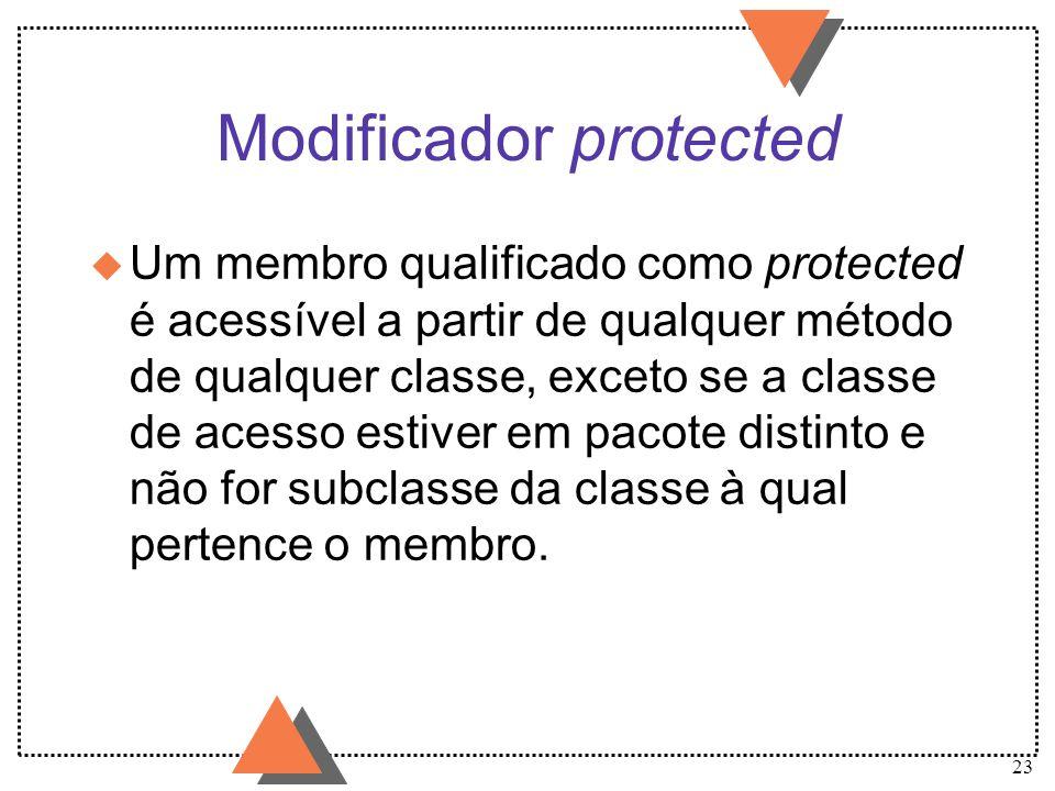 23 Modificador protected u Um membro qualificado como protected é acessível a partir de qualquer método de qualquer classe, exceto se a classe de aces