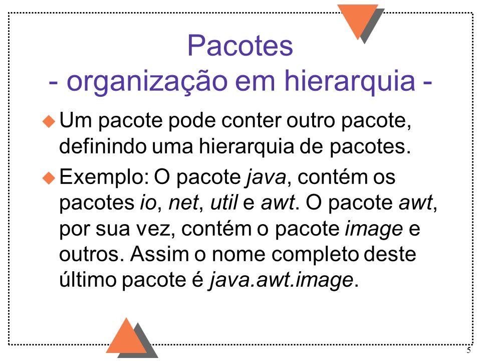 5 Pacotes - organização em hierarquia - u Um pacote pode conter outro pacote, definindo uma hierarquia de pacotes. u Exemplo: O pacote java, contém os