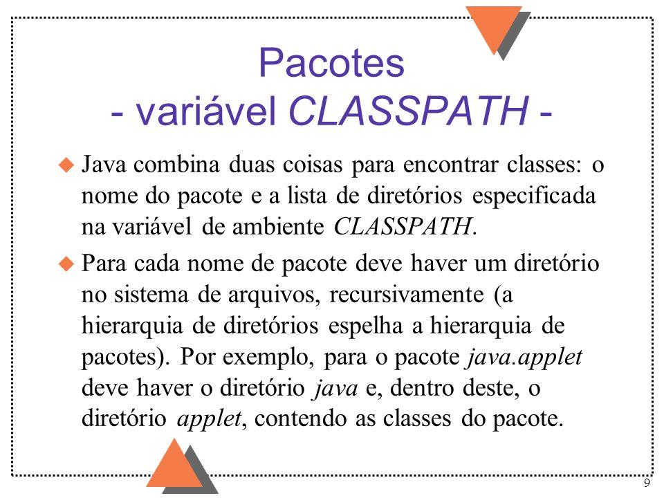 10 Pacotes - variável CLASSPATH - (cont.) u Cada diretório raiz (correspondente a um pacote raiz) deve estar contido em um dos diretórios listados na variável CLASSPATH.