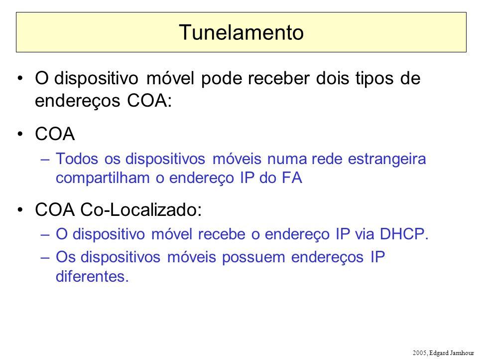 2005, Edgard Jamhour Tunelamento O dispositivo móvel pode receber dois tipos de endereços COA: COA –Todos os dispositivos móveis numa rede estrangeira compartilham o endereço IP do FA COA Co-Localizado: –O dispositivo móvel recebe o endereço IP via DHCP.