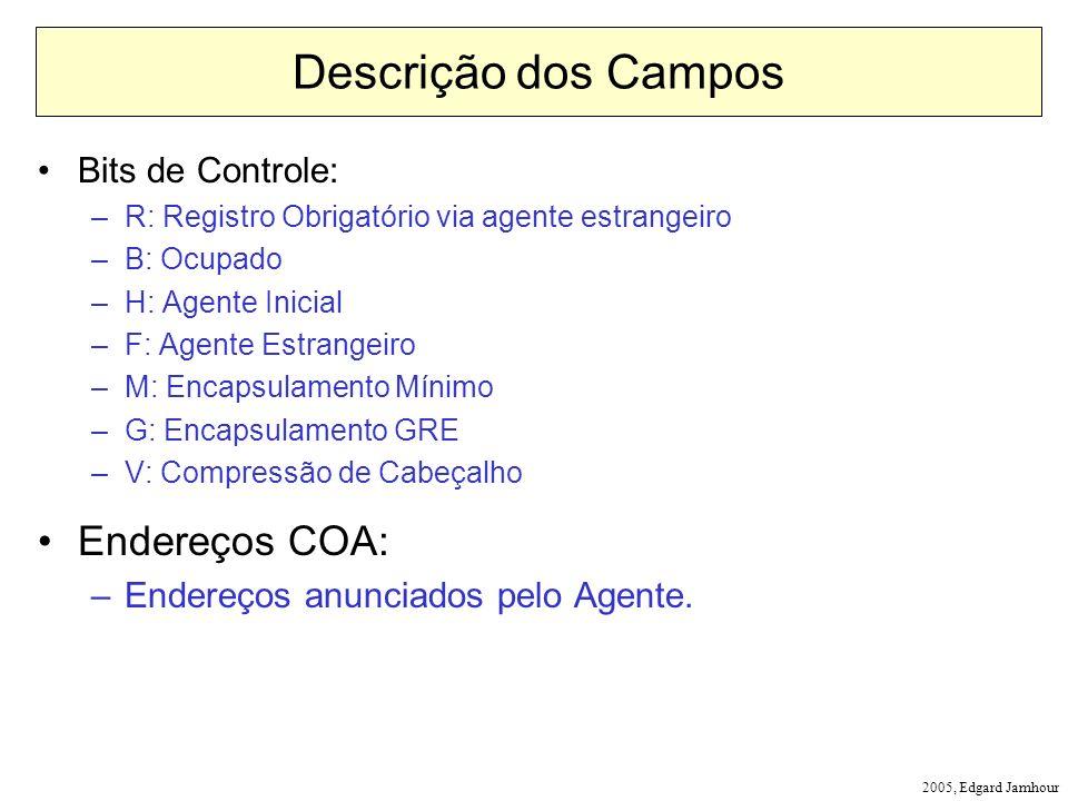 2005, Edgard Jamhour Descrição dos Campos Bits de Controle: –R: Registro Obrigatório via agente estrangeiro –B: Ocupado –H: Agente Inicial –F: Agente