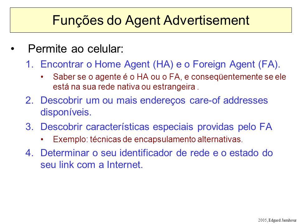 2005, Edgard Jamhour Funções do Agent Advertisement Permite ao celular: 1.Encontrar o Home Agent (HA) e o Foreign Agent (FA). Saber se o agente é o HA