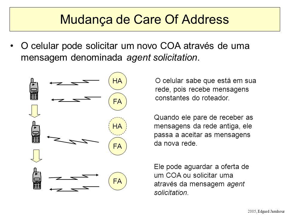 2005, Edgard Jamhour Mudança de Care Of Address O celular pode solicitar um novo COA através de uma mensagem denominada agent solicitation. HA O celul
